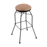 Holland Bar Stool 302030BWALBeWd Black Wrinkle Steel Bar Height Swivel Stool with Allante Beechwood Vinyl Seat