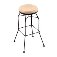 Holland Bar Stool 302025BWNatMpl Black Wrinkle Steel Counter Height Swivel Stool with Natural Maple Wood Seat