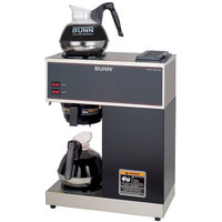 Bunn 33200.0002 VPR Black 12 Cup Pourover Coffee Brewer with 2 Warmers and 2 Easy Pour Decanters - 120V