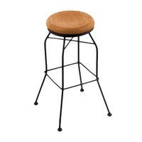 Holland Bar Stool 302030BWMedOak Black Wrinkle Steel Bar Height Swivel Stool with Medium Oak Wood Seat