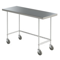 Metro MWTS2448US Space Saver 24 inch x 48 inch 14-Gauge Stainless Steel Heavy-Duty Mobile Work Table