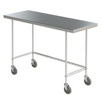 Metro MWTS2436US Space Saver 24 inch x 36 inch 14-Gauge Stainless Steel Heavy-Duty Mobile Work Table