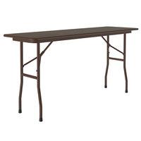 Correll Folding Table, 18 inch x 60 inch Melamine Top, Walnut - CF1860M