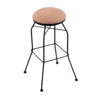 Holland Bar Stool 302030BWAxsSum Black Wrinkle Steel Bar Height Swivel Stool with Axis Summer Fabric Seat