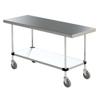 Metro MWTS2460FS Space Saver 24 inch x 60 inch 14-Gauge Stainless Steel Heavy-Duty Mobile Work Table with Undershelf
