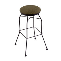 Holland Bar Stool 302030BWAxsGrv Black Wrinkle Steel Bar Height Swivel Stool with Axis Grove Fabric Seat