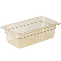 Cambro 34HP150 H-Pan™ 1/3 Size Amber High Heat Plastic Food Pan - 4 inch Deep
