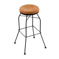 Holland Bar Stool 302030BWMedMpl Black Wrinkle Steel Bar Height Swivel Stool with Medium Maple Wood Seat