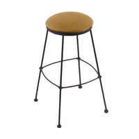 Holland Bar Stool 303025BWAxsSum Black Wrinkle Steel Counter Height Stool with Axis Summer Fabric Seat