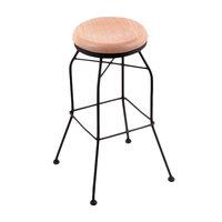 Holland Bar Stool 302030BWNatOak Black Wrinkle Steel Bar Height Swivel Stool with Natural Oak Wood Seat