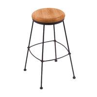 Holland Bar Stool 303030BWMedMpl Black Wrinkle Steel Bar Height Stool with Medium Maple Wood Seat