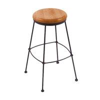 Holland Bar Stool 303025BWMedOak Black Wrinkle Steel Counter Height Stool with Medium Oak Wood Seat