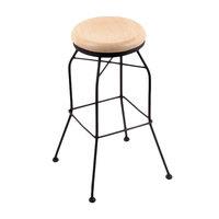 Holland Bar Stool 302030BWNatMpl Black Wrinkle Steel Bar Height Swivel Stool with Natural Maple Wood Seat