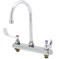 T&S B-1120-135X-WH4 Deck Mounted Workboard Faucet with 8 inch Centers, 13 1/8 inch Gooseneck Spout, 2.2 GPM Aerator, Eterna Cartridges, and Wrist Handles