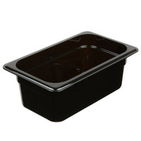 Cambro 44CW110 Camwear 1/4 Size Black Polycarbonate Food Pan - 4 inch Deep