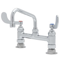 T&S B-0222-WH4 Deck Mounted Pantry Faucet with 8 inch Adjustable Centers, 6 inch Swing Spout, Stream Regulator Outlet, Eterna Cartridges, and Wrist Handles