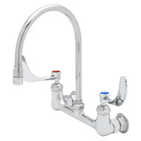 T&S B-0230-135X-WH4 Wall Mounted Faucet with 8 inch Adjustable Centers, 12 1/2 inch Gooseneck Spout, Stream Regulator Outlet, Eterna Cartridges, and Wrist Handles