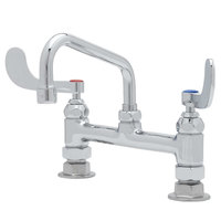 T&S B-0221-CR4-L22 Deck Mounted Pantry Faucet with 8 inch Adjustable Centers, 12 inch Swing Spout, 2.2 GPM Laminar Device, Cerama Cartridges, and Wrist Handles