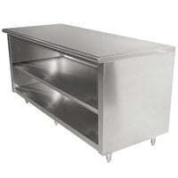 Advance Tabco EB-SS-3610M 36 inch x 120 inch 14 Gauge Open Front Cabinet Base Work Table with Fixed Mid Shelf