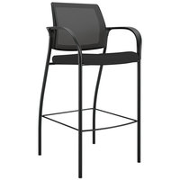 Hon IC108IMCU10 Ignition 2.0 Series Black Ilira-Stretch Mesh Upholstered Fabric Cafe Height Stool