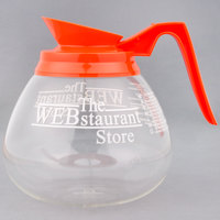 WebstaurantStore Logo 64 oz. Glass Coffee Decanter with Orange Handle
