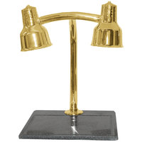 Hanson Heat Lamps DLM/BB/MOD/BR Moderne Dual Bulb 18 inch x 20 inch Brass Carving Station with Synthetic Granite Base