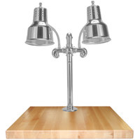 Hanson Heat Lamps DLM/MB/SS/2424 Dual Bulb 24 inch x 24 inch Stainless Steel Carving Station with Maple Base