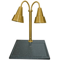 Hanson Heat Lamps DLM/BB/100/ST/BR Dual Bulb 18 inch x 20 inch Brass Carving Station with Black Synthetic Granite Base