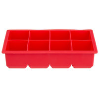 Red Silicone 8 Compartment 2 inch Cube Ice Mold