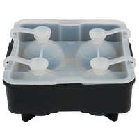 Tablecraft BSRT2 Black Silicone 4 Compartment 1 3/4 inch Sphere Ice / Dessert Mold with Lid