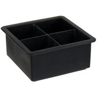 American Metalcraft SMC4 Black Silicone 4 Compartment 2 inch Cube Ice / Dessert Mold with Lid