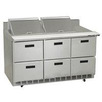 Delfield STD4472N-24M 72 inch 6 Drawer Mega Top Refrigerated Sandwich Prep Table with 4 inch Backsplash