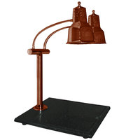 Hanson Heat Lamps EDL/BB/SC Economy Dual Bulb 11 inch x 18 inch Smoked Copper Carving Station with Black Solid Base