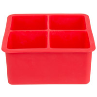 Red Silicone 4 Compartment 2 inch Cube Ice Mold