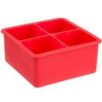 Red Silicone 4 Compartment 2 inch Cube Ice / Dessert Mold