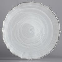 The Jay Companies 1470404 13 inch Round White Scalloped Edge Alabaster Glass Charger Plate with Silver Rim