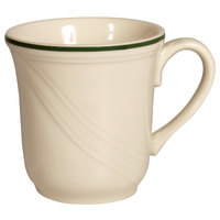 Homer Laughlin 1569614 Lyrica Lydia Green 7.25 oz. Off White China Cup - 36/Case