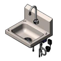 T&S CH-3101 17 1/4 inch x 15 1/4 inch Hand Sink with Deck Mount ChekPoint Electronic 11 inch Gooseneck Faucet with Drain Assembly