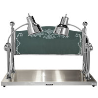 Hanson Heat Lamps CD/HB/2036/SS Dual Lamp 20 inch x 36 inch Stainless Steel Carving Station with Heated Stainless Steel Base and Sneeze Guard - 220V