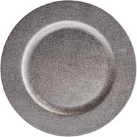 The Jay Companies 1270507 13 inch Platinum Faux Leather Melamine Charger Plate