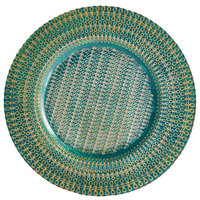 The Jay Companies 1875003AG 13 inch Aqua and Gold Round Glass Charger Plate