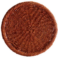 The Jay Companies 1660156 13 3/4 inch Honey Round Rattan Charger Plate