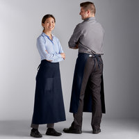 Choice Blue Poly-Cotton Bistro Apron with 1 Pocket - 34 inchL x 30 inchW