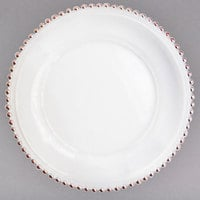 The Jay Companies 1875004RG 13 inch Rose Gold Beaded Round Glass Charger Plate