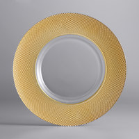 The Jay Companies 1875001GD 13 inch Glass Charger Plate with Wide Gold Beaded Edge