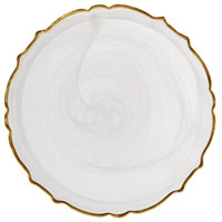 The Jay Companies 1470406 13 inch Round White Scalloped Edge Alabaster Glass Charger Plate with Gold Rim