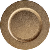 The Jay Companies 1270504 13 inch Gold Faux Leather Melamine Charger Plate