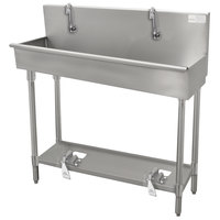 Advance Tabco 19-18-100FV 16-Gauge Multi-Station Hand Sink with 8 inch Deep Bowl and 5 Toe Operated Faucets - 100 inch x 17 1/2 inch