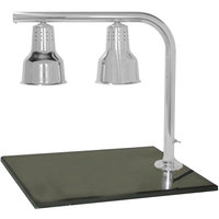 Hanson Heat Lamps FLD/BB/SS Dual Bulb 20 inch x 24 inch Stainless Steel Carving Station with Synthetic Granite Base