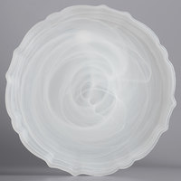 The Jay Companies 1470405 13 inch Round White Scalloped Edge Alabaster Glass Charger Plate